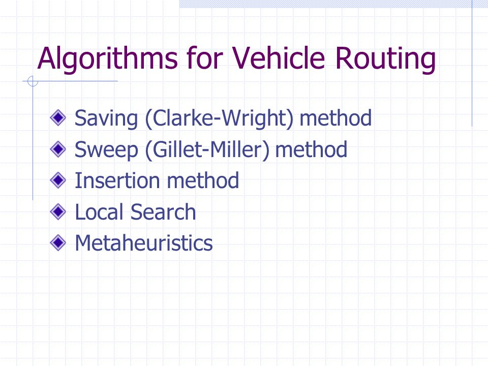 Algorithms for Vehicle Routing