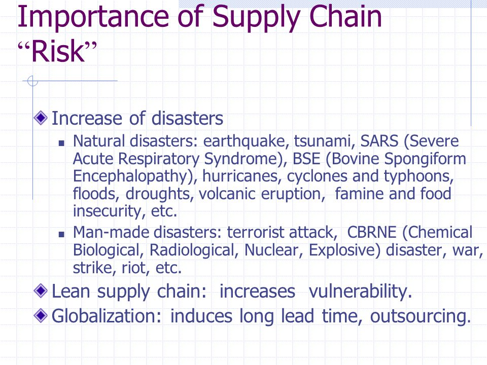 Importance of Supply Chain Risk