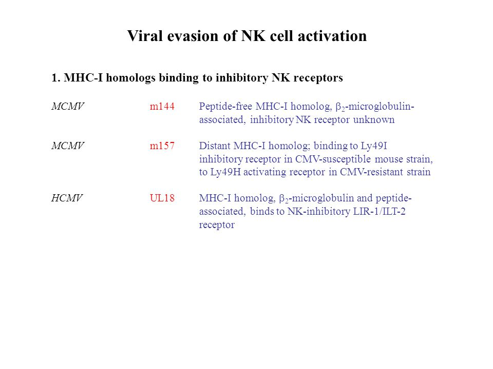 Viral evasion of NK cell activation