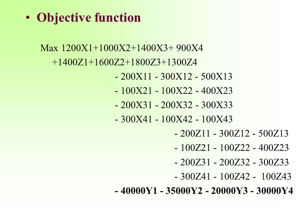 Objective function Max 1200X1+1000X2+1400X3+ 900X4