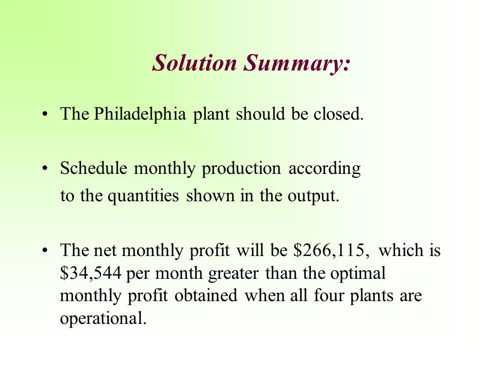 Solution Summary: The Philadelphia plant should be closed.