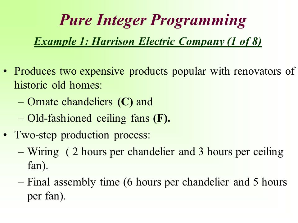 Pure Integer Programming Example 1: Harrison Electric Company (1 of 8)