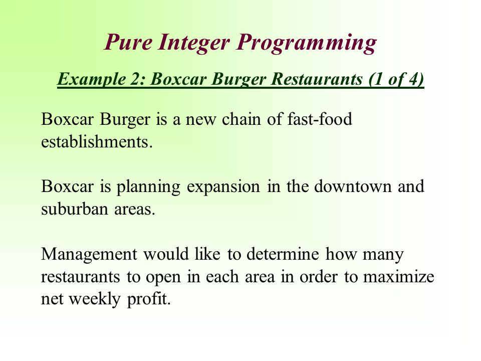 Pure Integer Programming Example 2: Boxcar Burger Restaurants (1 of 4)