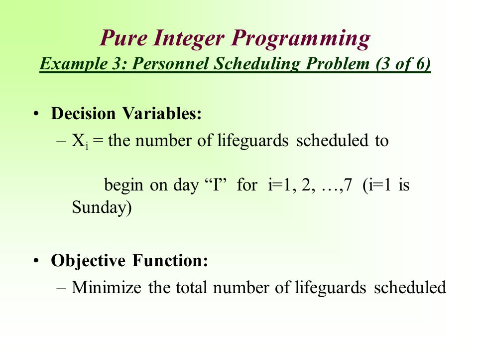 Pure Integer Programming Example 3: Personnel Scheduling Problem (3 of 6)