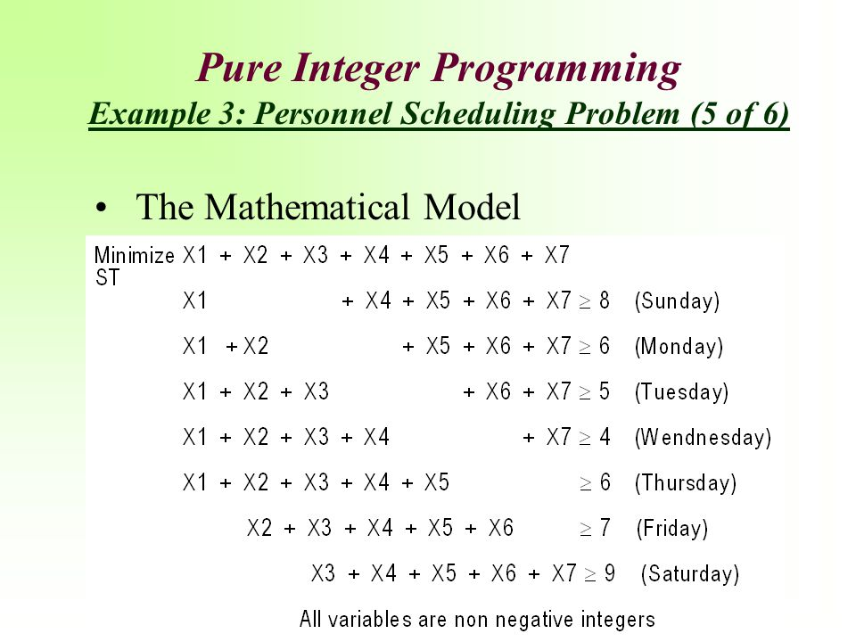 Pure Integer Programming Example 3: Personnel Scheduling Problem (5 of 6)