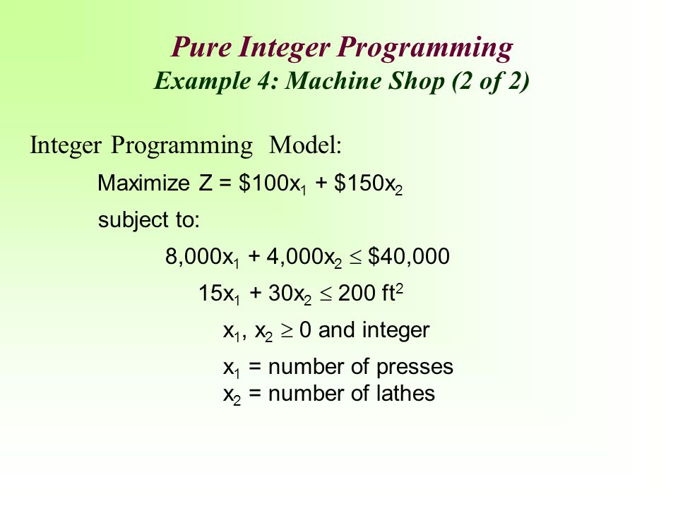 Pure Integer Programming Example 4: Machine Shop (2 of 2)