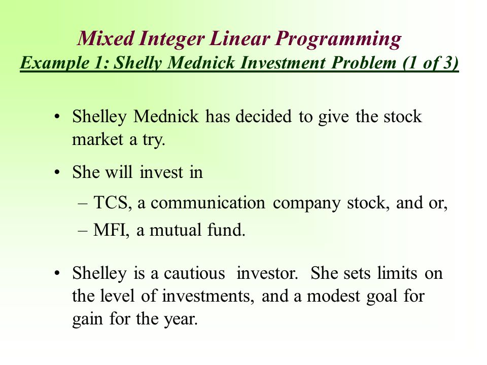 Mixed Integer Linear Programming Example 1: Shelly Mednick Investment Problem (1 of 3)