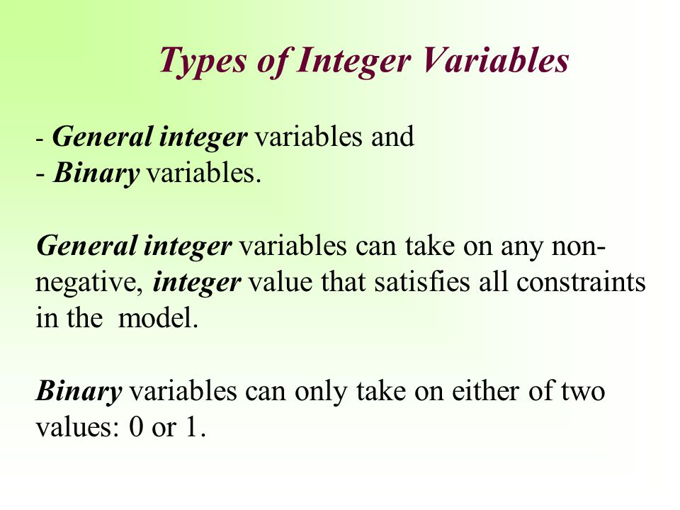 Types of Integer Variables