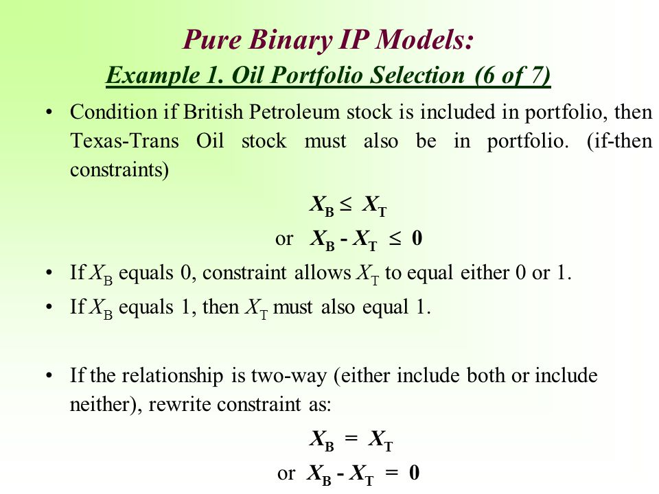 Pure Binary IP Models: Example 1. Oil Portfolio Selection (6 of 7)