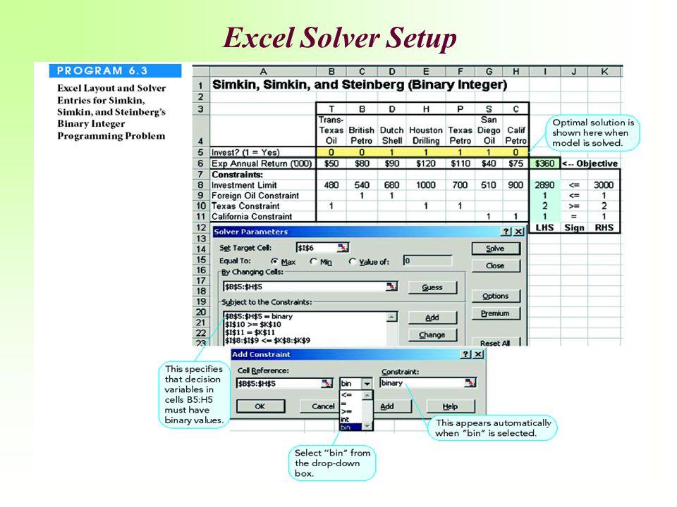 Excel Solver Setup