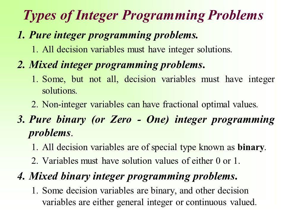 Types of Integer Programming Problems