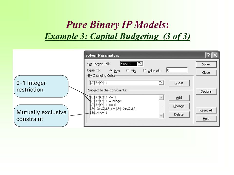 Example 3: Capital Budgeting (3 of 3)