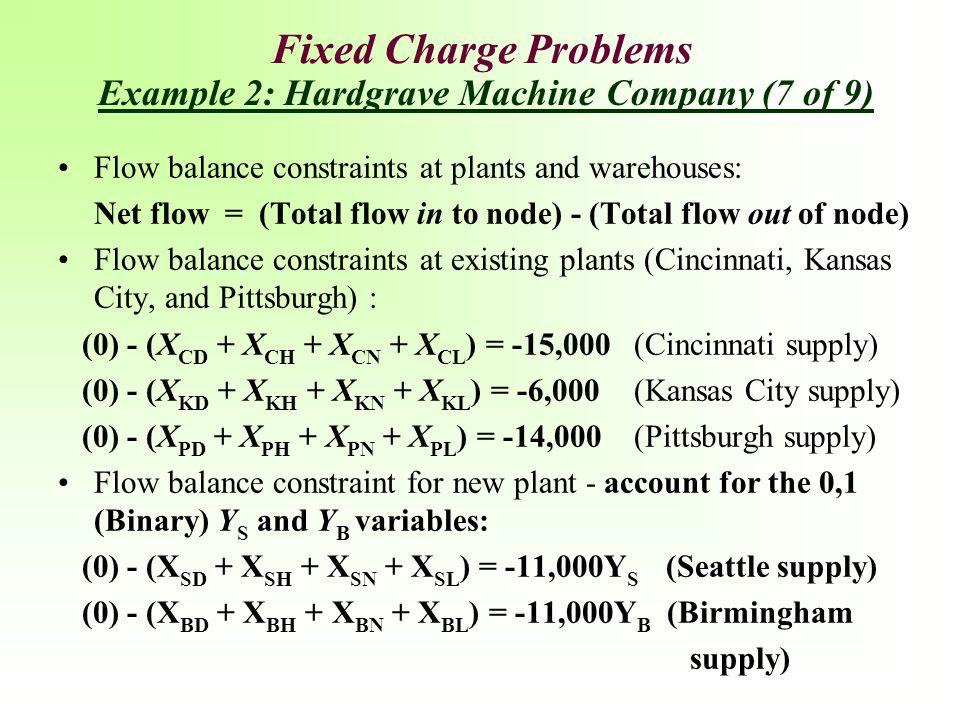 Fixed Charge Problems Example 2: Hardgrave Machine Company (7 of 9)