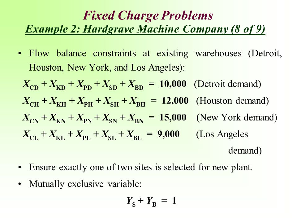 Fixed Charge Problems Example 2: Hardgrave Machine Company (8 of 9)