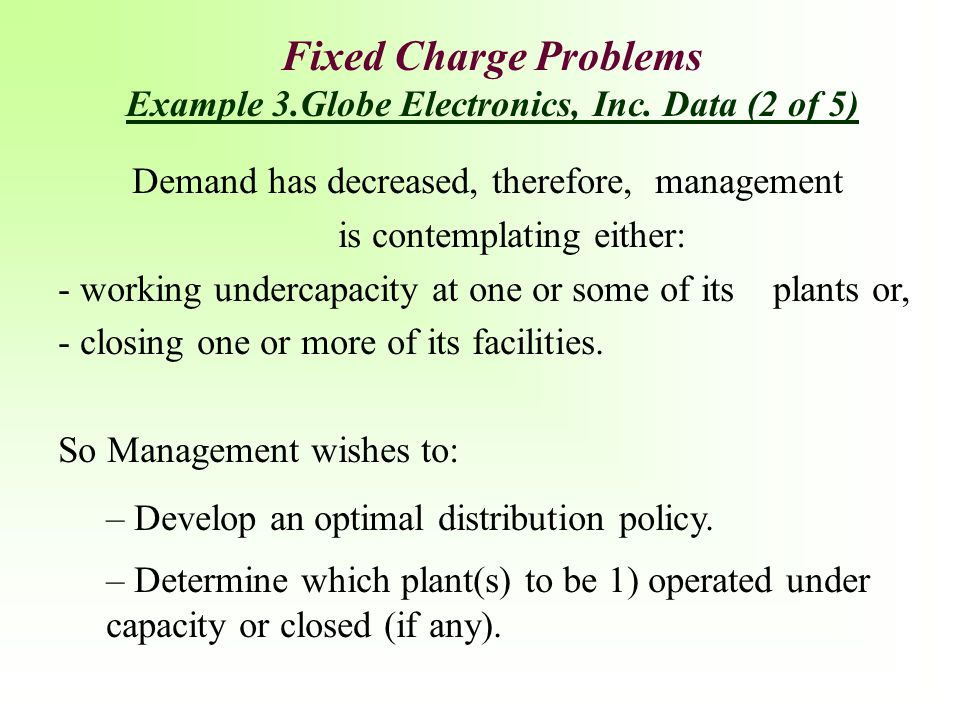 Fixed Charge Problems Example 3.Globe Electronics, Inc. Data (2 of 5)