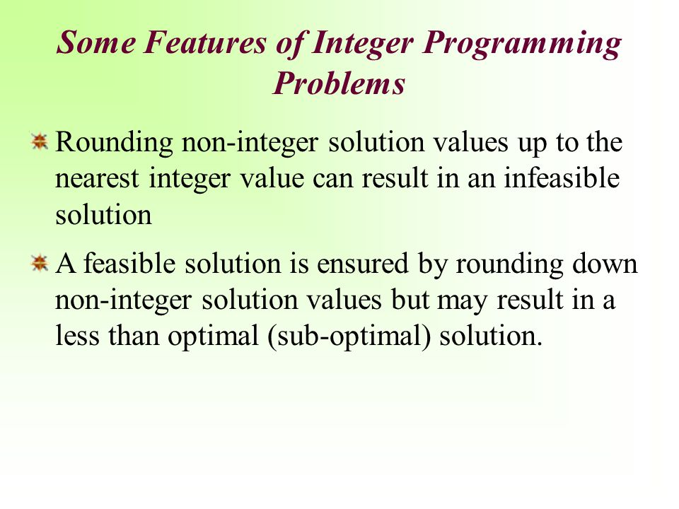 Some Features of Integer Programming Problems