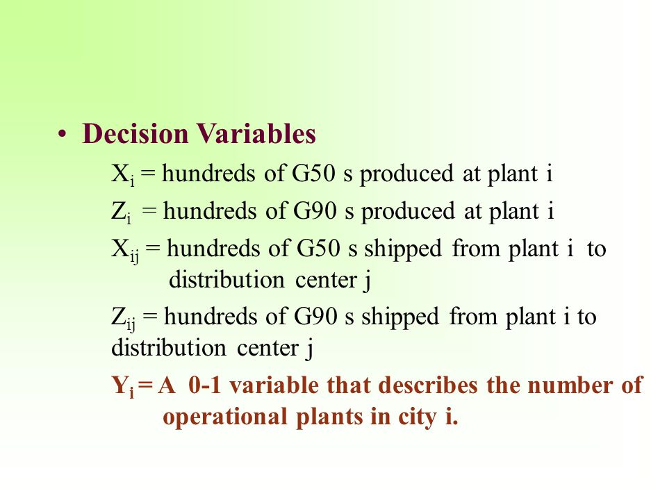 Decision Variables Xi = hundreds of G50 s produced at plant i
