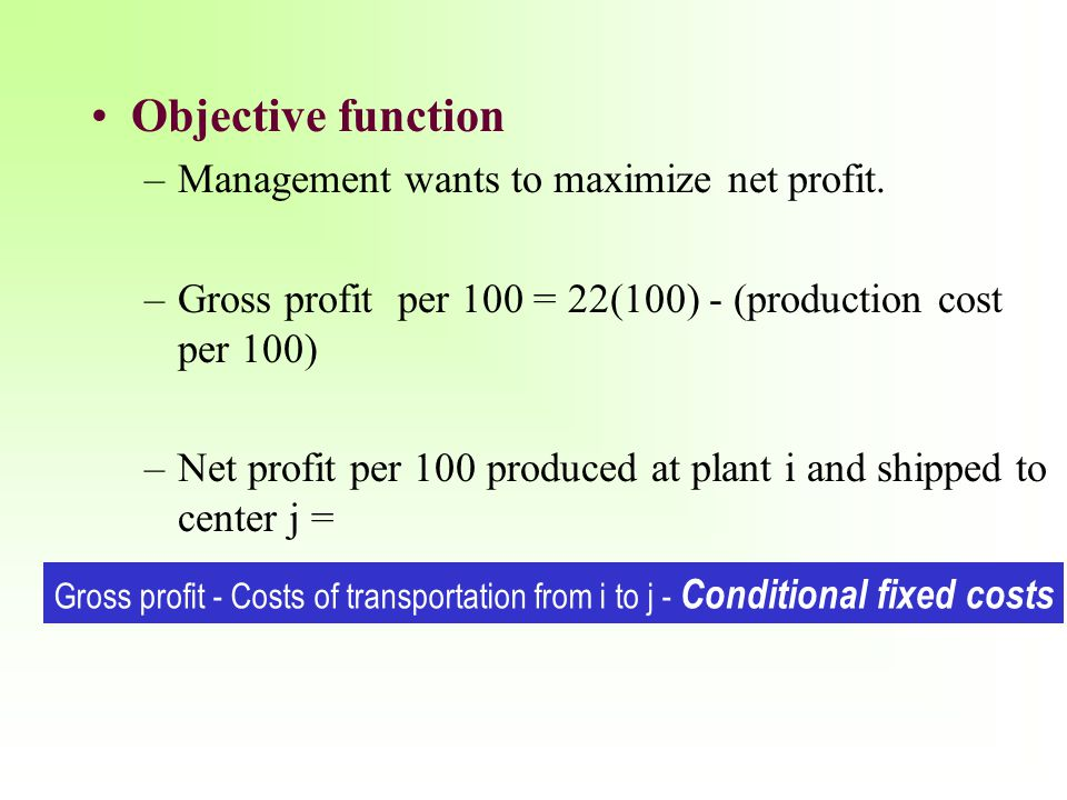 Objective function Management wants to maximize net profit.