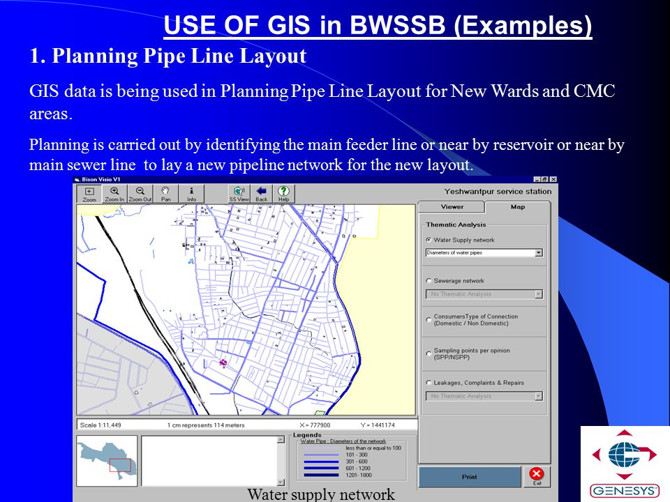 USE OF GIS in BWSSB (Examples)