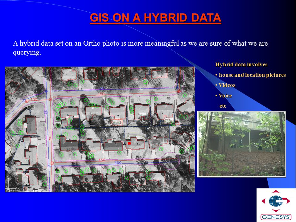 GIS ON A HYBRID DATA A hybrid data set on an Ortho photo is more meaningful as we are sure of what we are querying.