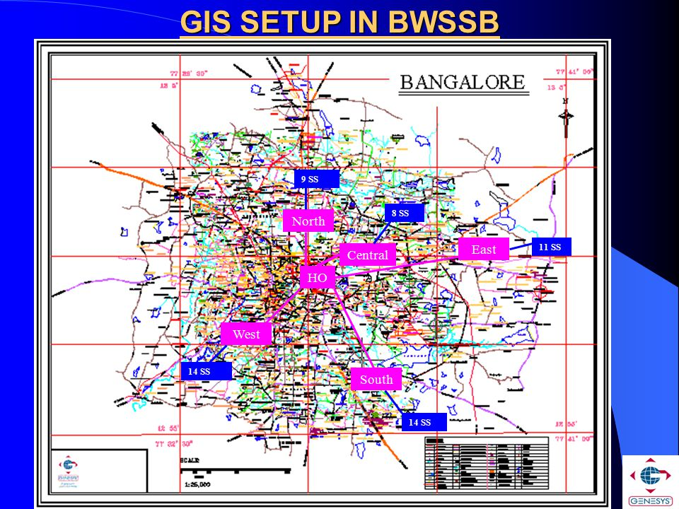 GIS SETUP IN BWSSB North East Central HO West South 9 SS 8 SS 11 SS