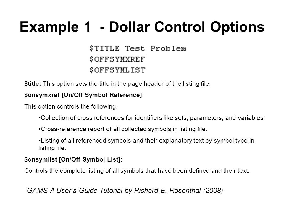 Example 1 - Dollar Control Options