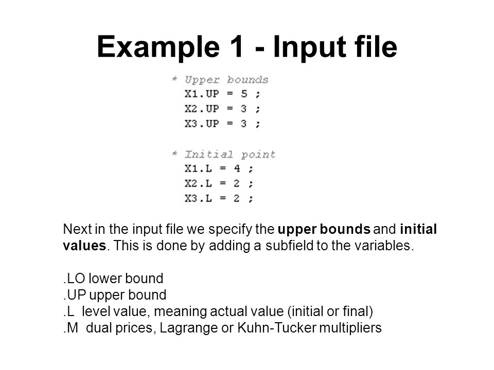 Example 1 - Input file Next in the input file we specify the upper bounds and initial values. This is done by adding a subfield to the variables.