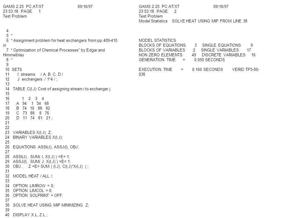 GAMS 2.25 PC AT/XT 09/16/97 23:53:18 PAGE 1 Test Problem