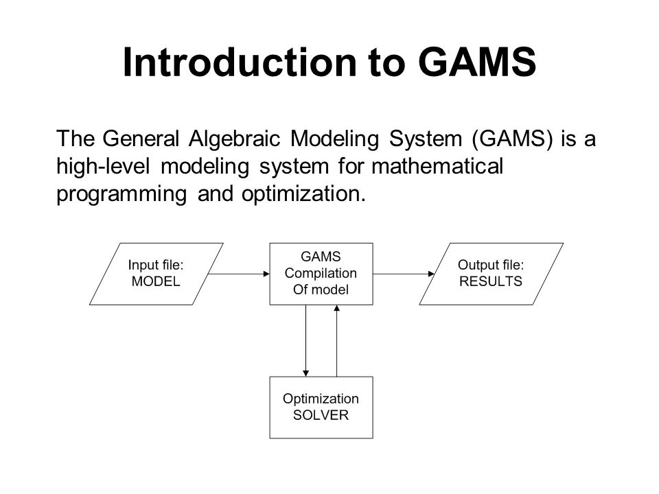 Introduction to GAMS The General Algebraic Modeling System (GAMS) is a high-level modeling system for mathematical programming and optimization.