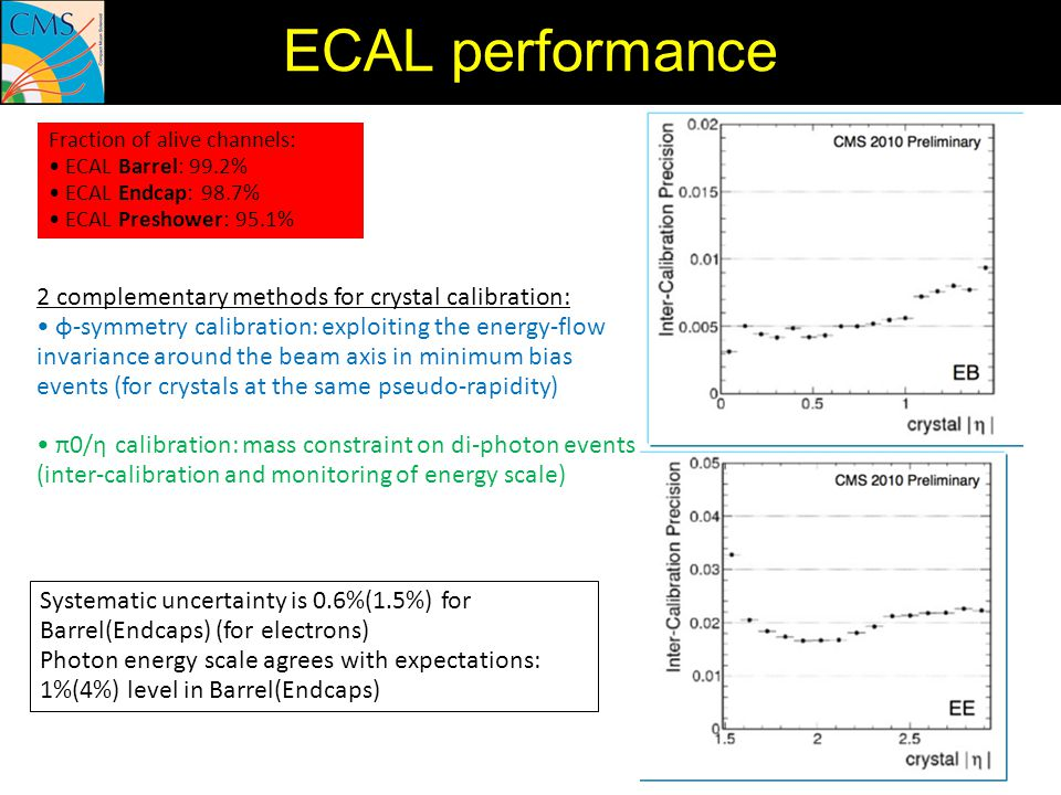 ECAL performance 2 complementary methods for crystal calibration:
