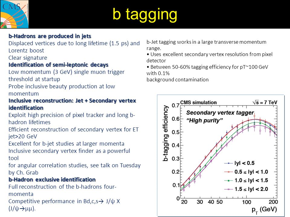 b tagging b-Hadrons are produced in jets