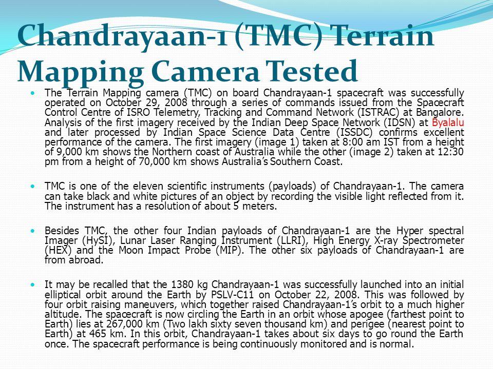 Chandrayaan-1 (TMC) Terrain Mapping Camera Tested