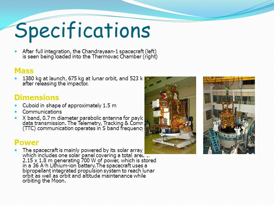 Specifications Mass Dimensions Power