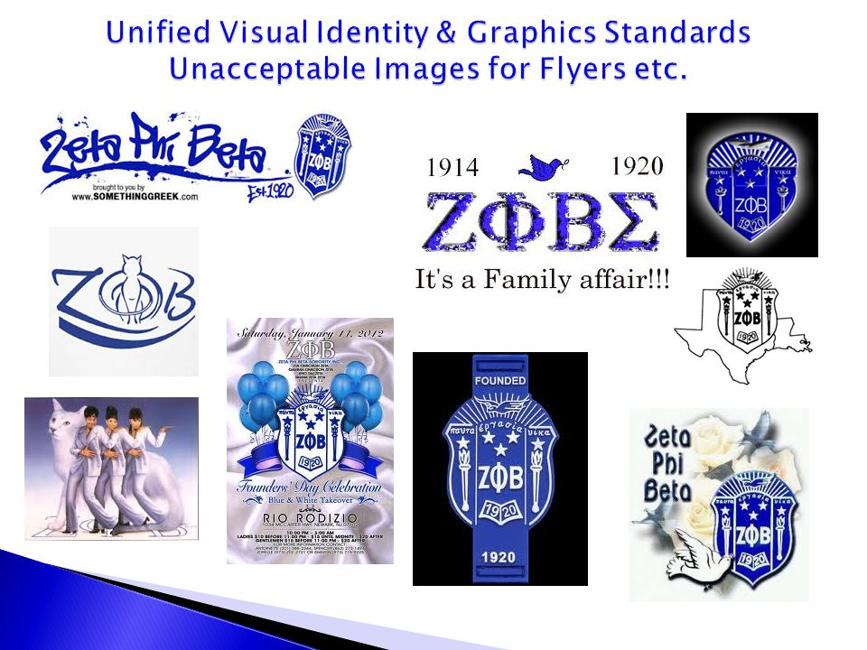 Unified Visual Identity & Graphics Standards Unacceptable Images for Flyers etc.