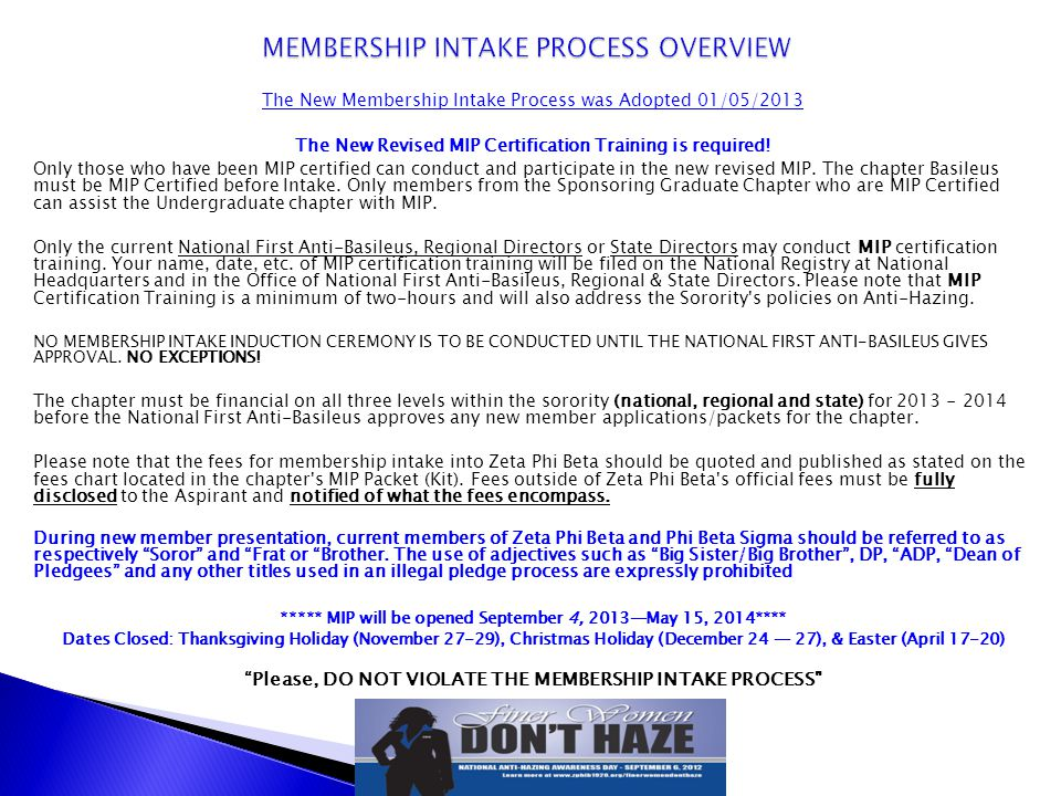 MEMBERSHIP INTAKE PROCESS OVERVIEW