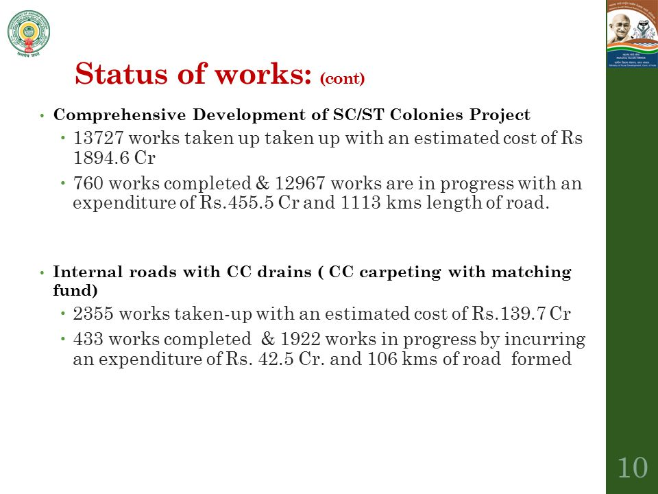 Status of works: (cont)