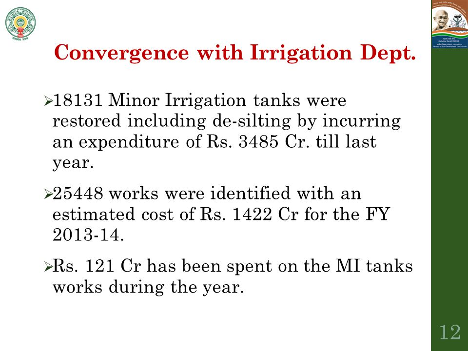 Convergence with Irrigation Dept.
