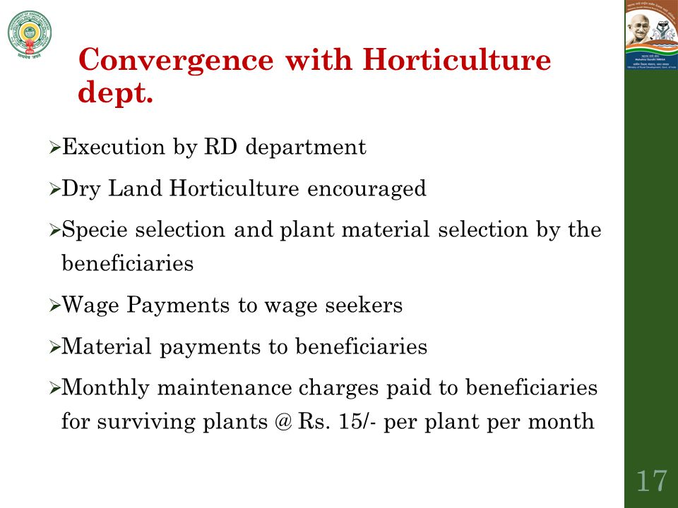 Convergence with Horticulture dept.