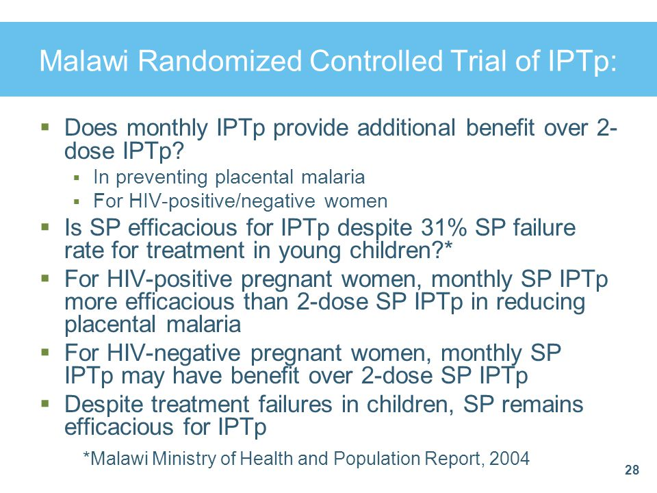 Malawi Randomized Controlled Trial of IPTp: