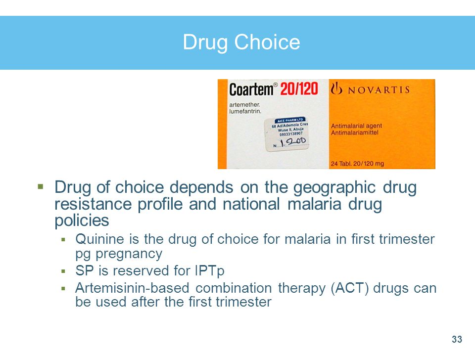 Drug Choice Drug of choice depends on the geographic drug resistance profile and national malaria drug policies.