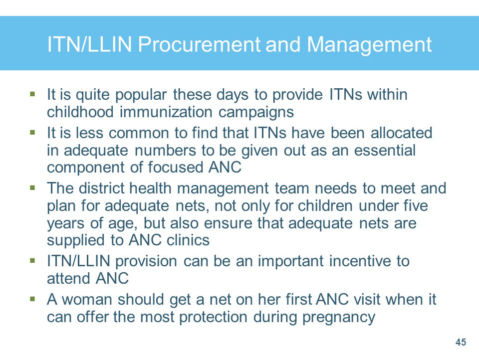 ITN/LLIN Procurement and Management