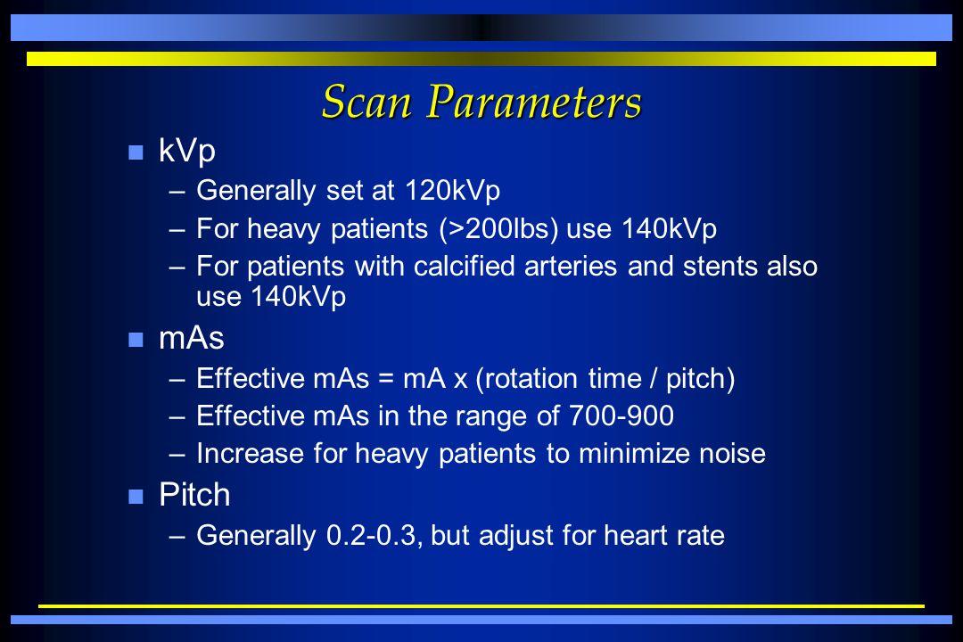 Scan Parameters kVp mAs Pitch Generally set at 120kVp
