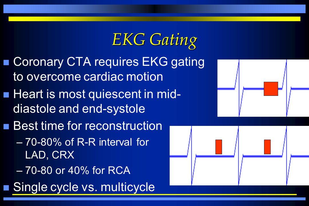 EKG Gating Coronary CTA requires EKG gating to overcome cardiac motion