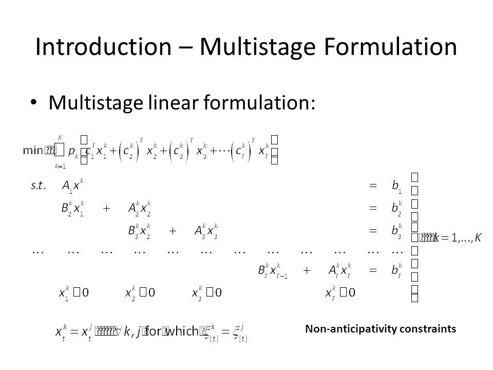Introduction – Multistage Formulation