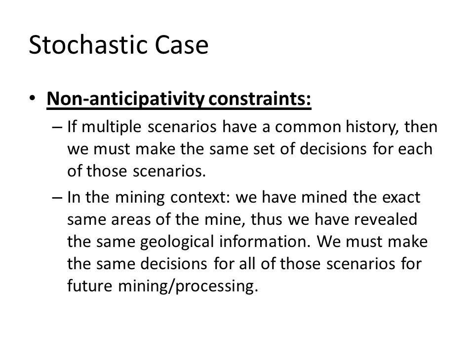 Stochastic Case Non-anticipativity constraints:
