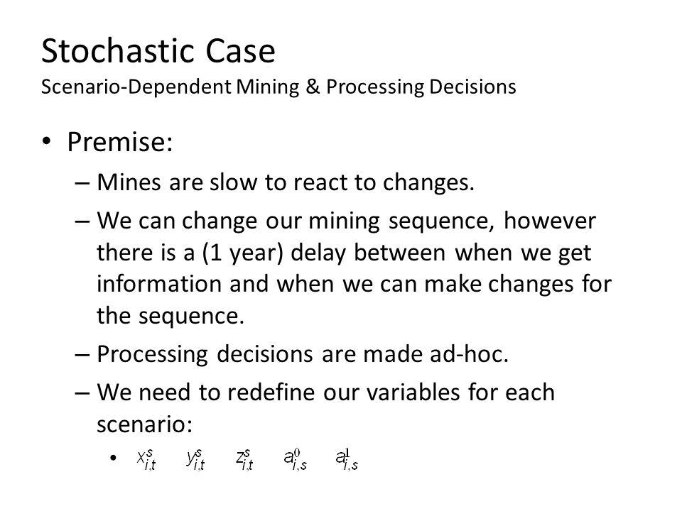 Stochastic Case Scenario-Dependent Mining & Processing Decisions