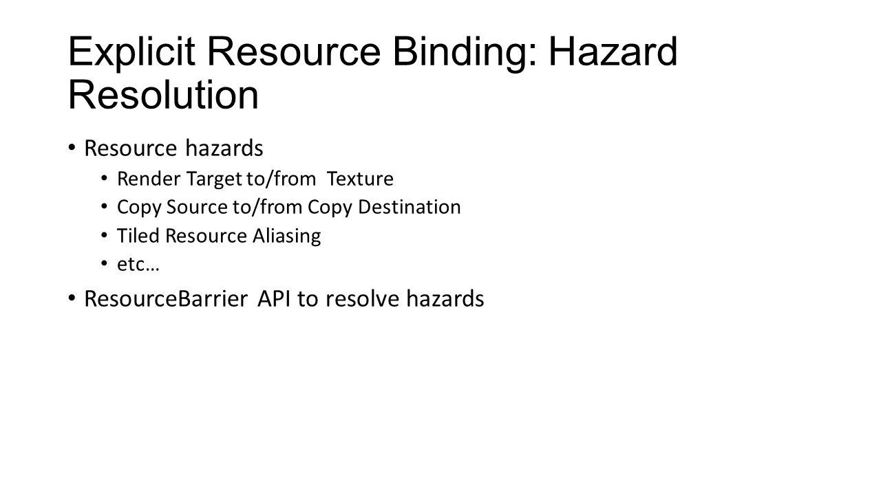 Explicit Resource Binding: Hazard Resolution