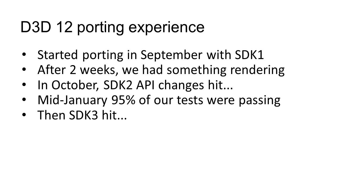 D3D 12 porting experience Started porting in September with SDK1
