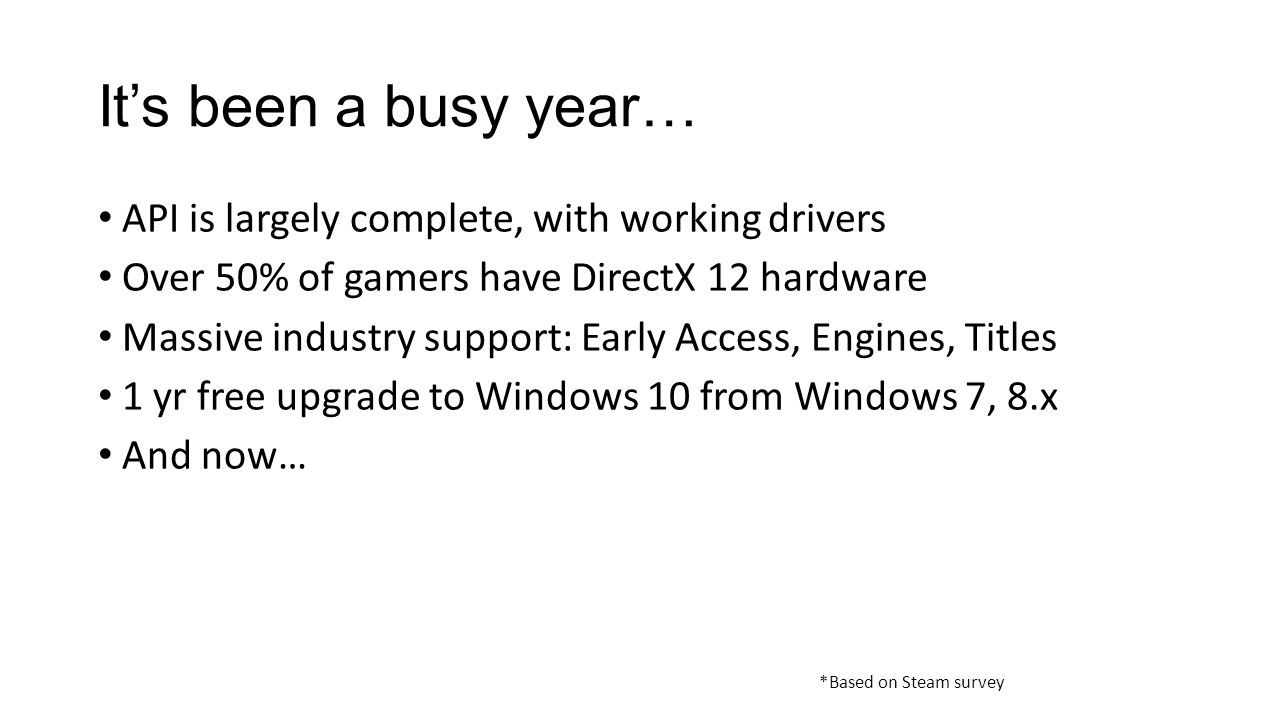 It's been a busy year… API is largely complete, with working drivers