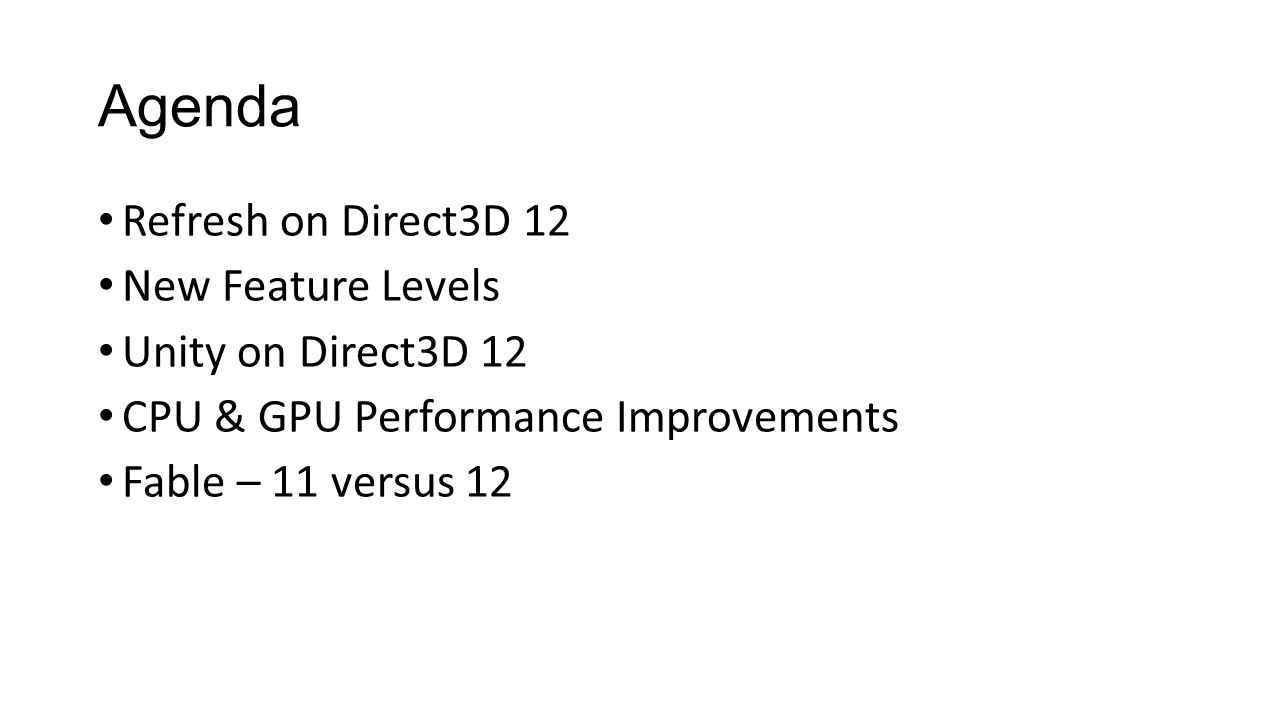 Agenda Refresh on Direct3D 12 New Feature Levels Unity on Direct3D 12